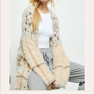 Free people fair weather slouchy fuzzy cardigan